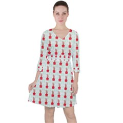 At On Christmas Present Background Ruffle Dress