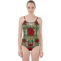 Calsidyrose Groovy Christmas Cut Out Top Tankini Set