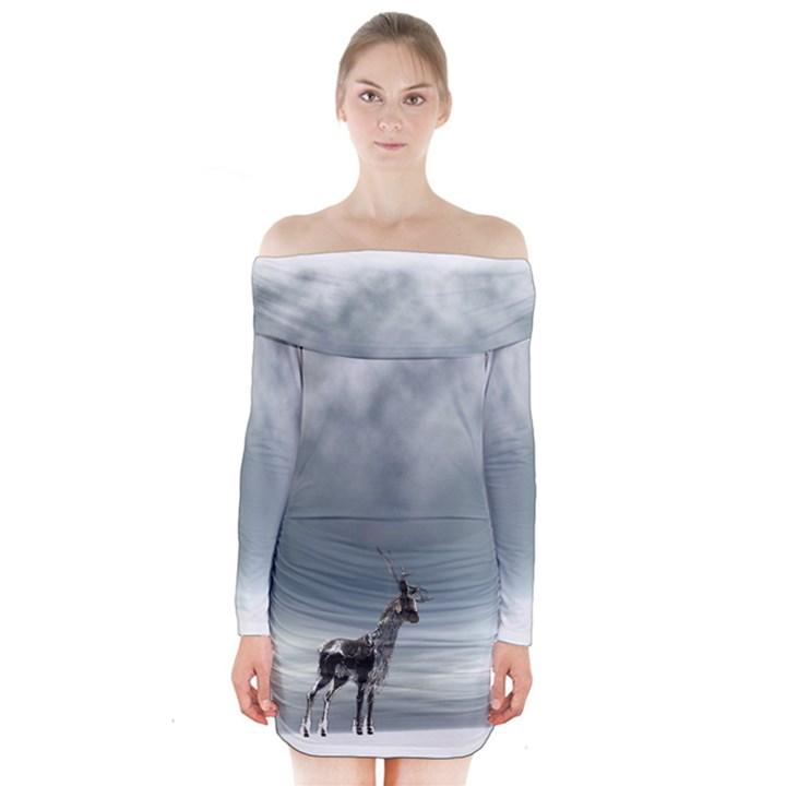 lonesome Reindeer Long Sleeve Off Shoulder Dress