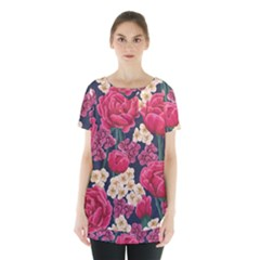 Pink Roses And Daisies Skirt Hem Sports Top