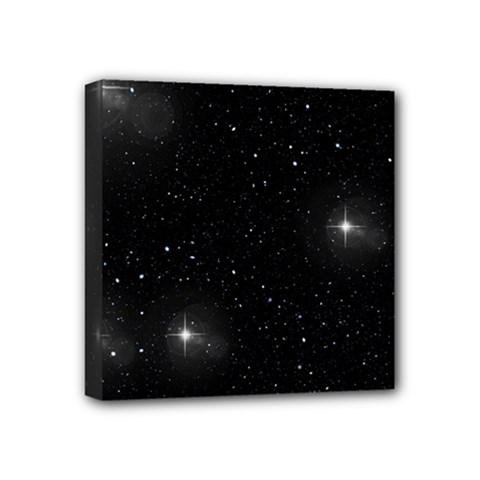 Starry Galaxy Night Black And White Stars Mini Canvas 4  X 4