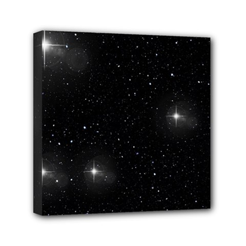 Starry Galaxy Night Black And White Stars Mini Canvas 6  X 6