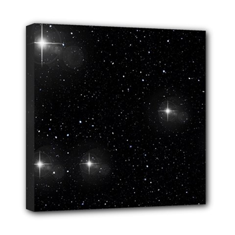 Starry Galaxy Night Black And White Stars Mini Canvas 8  X 8