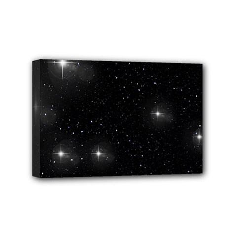Starry Galaxy Night Black And White Stars Mini Canvas 6  X 4