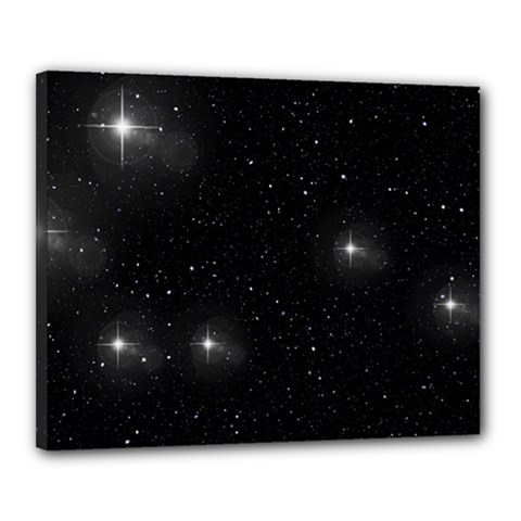 Starry Galaxy Night Black And White Stars Canvas 20  X 16