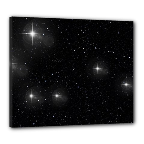 Starry Galaxy Night Black And White Stars Canvas 24  X 20