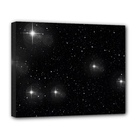 Starry Galaxy Night Black And White Stars Deluxe Canvas 20  X 16