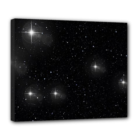 Starry Galaxy Night Black And White Stars Deluxe Canvas 24  X 20