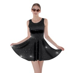 Starry Galaxy Night Black And White Stars Skater Dress