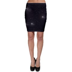 Starry Galaxy Night Black And White Stars Bodycon Skirt