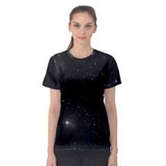 Starry Galaxy Night Black And White Stars Women s Sport Mesh Tee