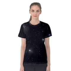 Starry Galaxy Night Black And White Stars Women s Cotton Tee