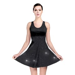 Starry Galaxy Night Black And White Stars Reversible Skater Dress