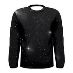 Starry Galaxy Night Black And White Stars Men s Long Sleeve Tee