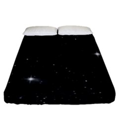 Starry Galaxy Night Black And White Stars Fitted Sheet (queen Size)