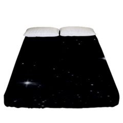 Starry Galaxy Night Black And White Stars Fitted Sheet (king Size)