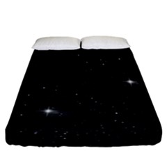 Starry Galaxy Night Black And White Stars Fitted Sheet (california King Size)