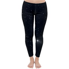 Starry Galaxy Night Black And White Stars Classic Winter Leggings