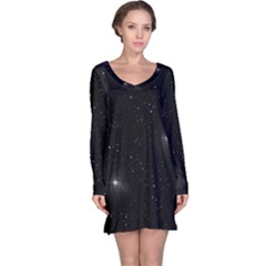 Starry Galaxy Night Black And White Stars Long Sleeve Nightdress