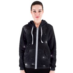 Starry Galaxy Night Black And White Stars Women s Zipper Hoodie