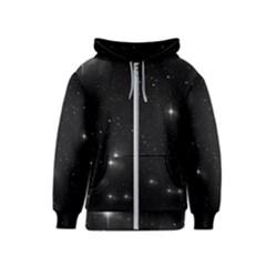Starry Galaxy Night Black And White Stars Kids  Zipper Hoodie