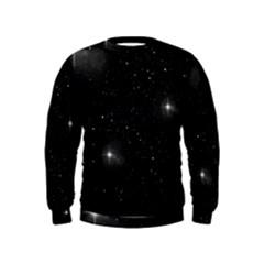Starry Galaxy Night Black And White Stars Kids  Sweatshirt
