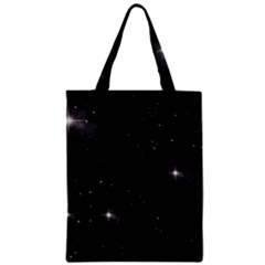 Starry Galaxy Night Black And White Stars Zipper Classic Tote Bag