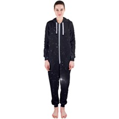 Starry Galaxy Night Black And White Stars Hooded Jumpsuit (ladies)