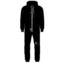 Starry Galaxy Night Black And White Stars Hooded Jumpsuit (men)