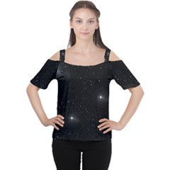 Starry Galaxy Night Black And White Stars Cutout Shoulder Tee