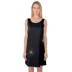 Starry Galaxy Night Black And White Stars Sleeveless Satin Nightdress