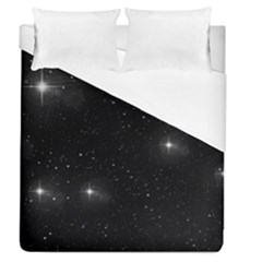 Starry Galaxy Night Black And White Stars Duvet Cover (queen Size)