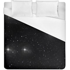 Starry Galaxy Night Black And White Stars Duvet Cover (king Size)