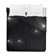 Starry Galaxy Night Black And White Stars Duvet Cover Double Side (full/ Double Size)