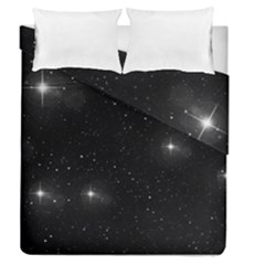 Starry Galaxy Night Black And White Stars Duvet Cover Double Side (queen Size)