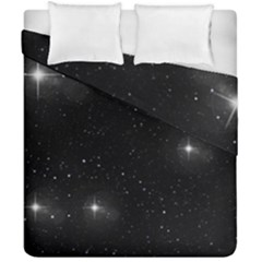Starry Galaxy Night Black And White Stars Duvet Cover Double Side (california King Size)