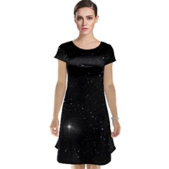 Starry Galaxy Night Black And White Stars Cap Sleeve Nightdress