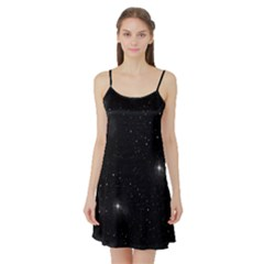 Starry Galaxy Night Black And White Stars Satin Night Slip