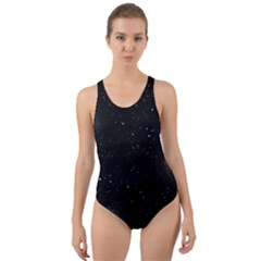 Starry Galaxy Night Black And White Stars Cut Out Back One Piece Swimsuit
