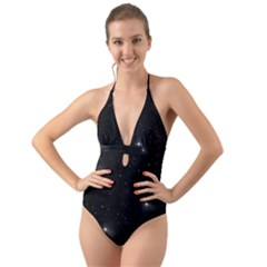 Starry Galaxy Night Black And White Stars Halter Cut Out One Piece Swimsuit