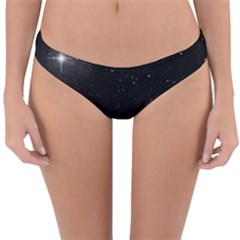 Starry Galaxy Night Black And White Stars Reversible Hipster Bikini Bottoms
