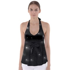 Starry Galaxy Night Black And White Stars Babydoll Tankini Top