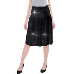Starry Galaxy Night Black And White Stars Midi Beach Skirt