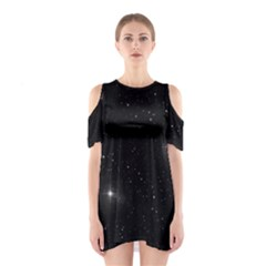 Starry Galaxy Night Black And White Stars Shoulder Cutout One Piece
