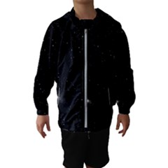Starry Galaxy Night Black And White Stars Hooded Wind Breaker (kids)