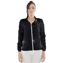 Starry Galaxy Night Black And White Stars Wind Breaker (women)