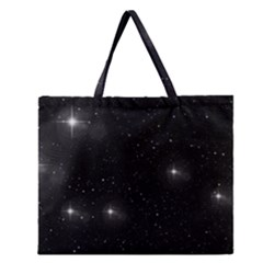 Starry Galaxy Night Black And White Stars Zipper Large Tote Bag