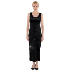 Starry Galaxy Night Black And White Stars Fitted Maxi Dress