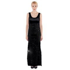 Starry Galaxy Night Black And White Stars Maxi Thigh Split Dress