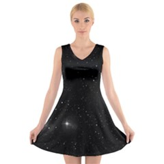Starry Galaxy Night Black And White Stars V Neck Sleeveless Skater Dress